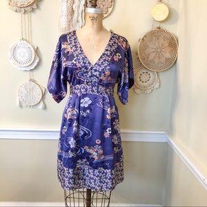 H&M 90s Y2K Purple Floral Print Kimono Dress 4